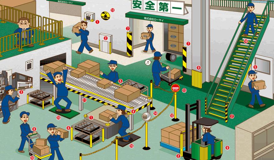 安全で快適な職場環境をつくる安全用品使用例